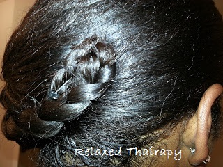 Braided Hairstyle Relaxed Hair. Braided tuck protective hairstyle for long relaxed hair. Short relaxed hair. How to style relaxed hair without heat. relaxedthairapy.com