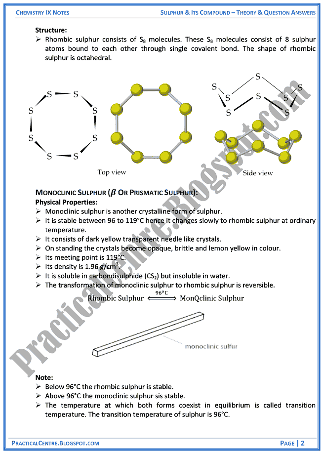 sulphur-and-its-compound-theory-and-question-answers-chemistry-ix