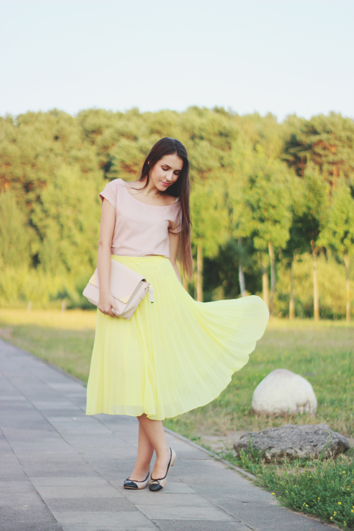 Asos yellow pleated midi skirt