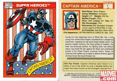 Captain America Marvel Card Series 1 1990