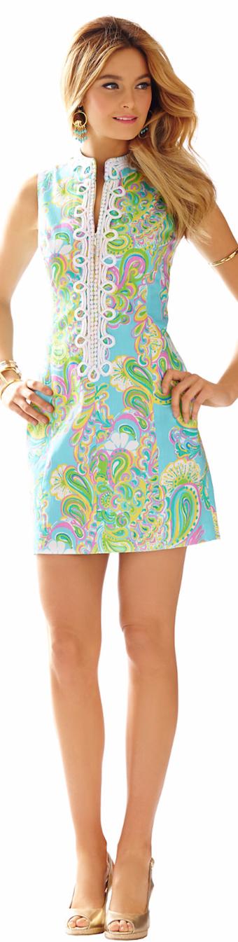 ALEXA HIGH COLLAR SHIFT DRESS SHORELY BLUE