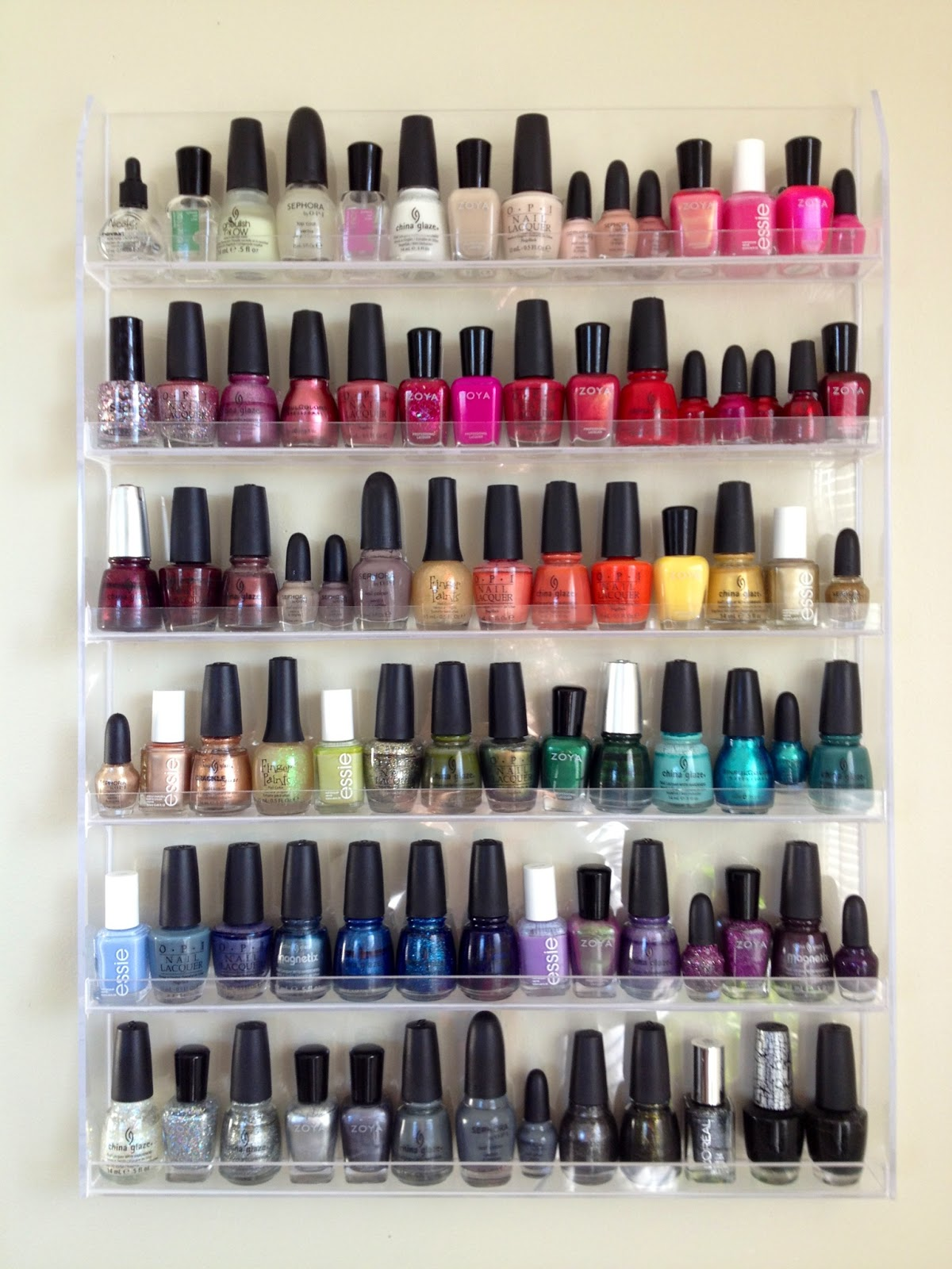 Acrylic 72 Bottle Nail Polish Wall Display Rack