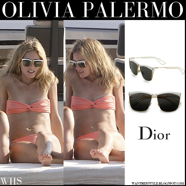 Olivia Palermo in orange salmon bikini with dior so real sunglasses what she wore july 27 yacht vacation