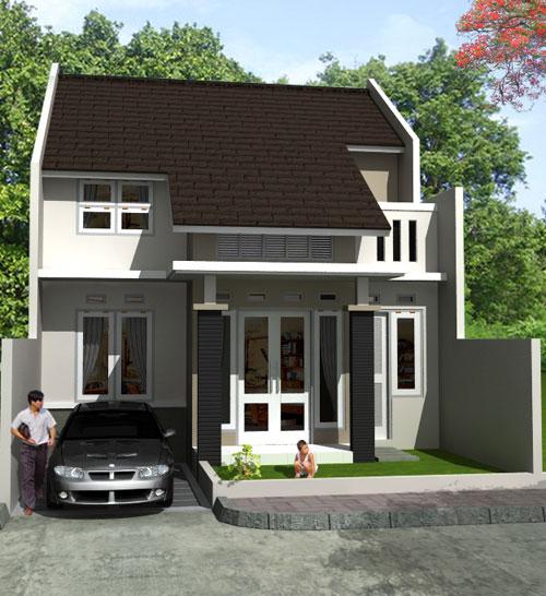 Rumah minimalis dengan Garasi mobil dan tempat jemuran