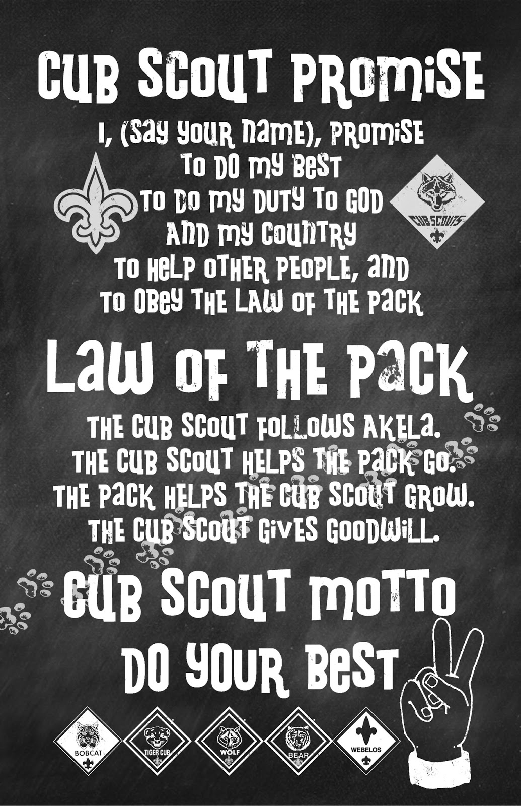 This is a photo of Clean Cub Scout Oath Printable