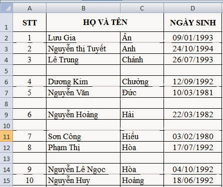 dòng trống trong excel