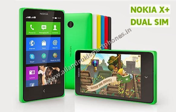 Nokia X+ 3G Dual Sim Android Smartphone Bright Green Black White Cyan Red Color Front Back Side Photos Images Review