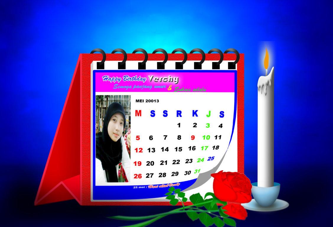 Membuat ucapan selamat ulang tahun berbentuk gambar kalender dengan