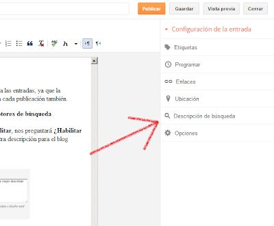 establecer una descripción de búsqueda para cada publicación