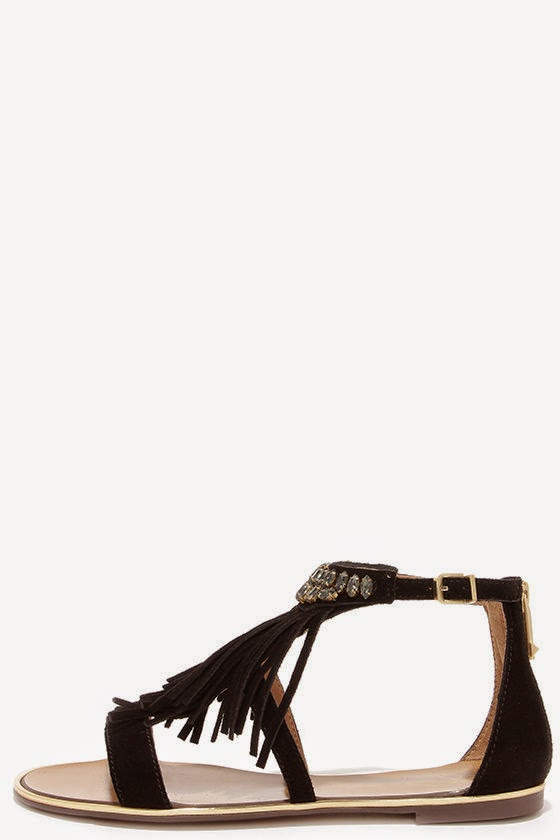Calin Black Suede Leather Beaded Fringe Sandals, summer choice
