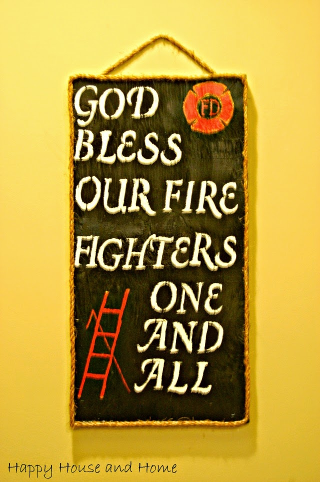 wooden sign DIY, DIY wooden sign, firefighters sign