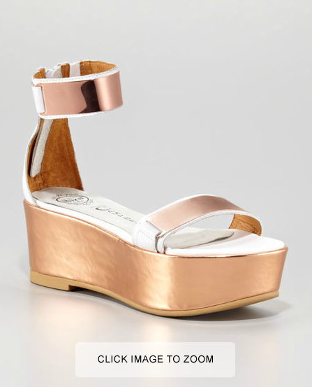 Jeffrey Campbell Lars Sandals in Rose Gold and White on Down to Stars