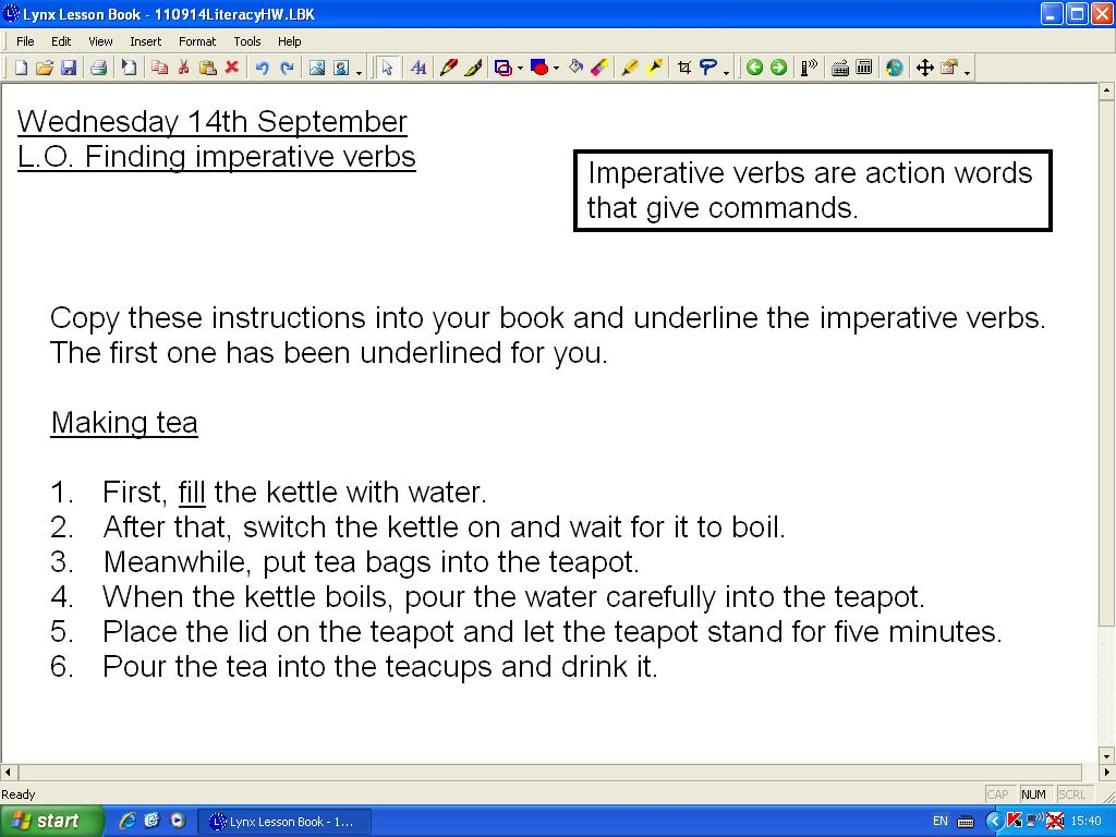 imperative verbs for instructions