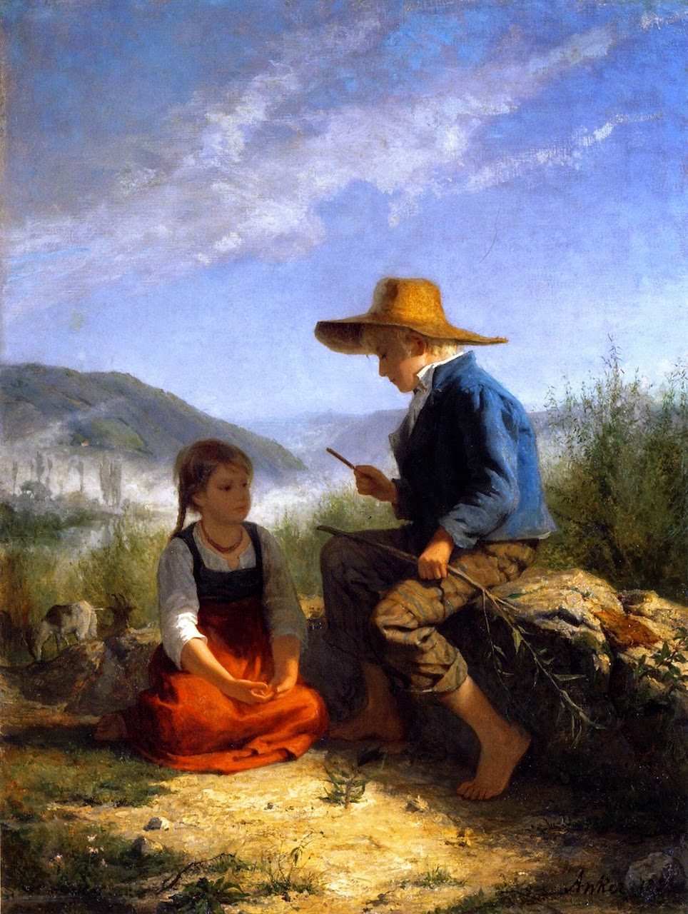 the whistle carver, albert anker,painting review