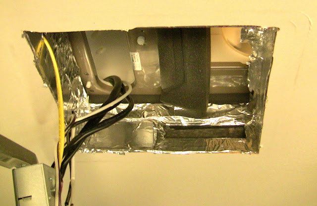 Looking UP into RV Air Conditioner - Intake on Left, Outlets on Right