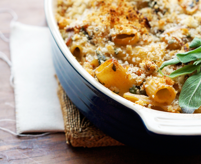 broke foodie: Baked rigatoni with butternut squash and goat cheese