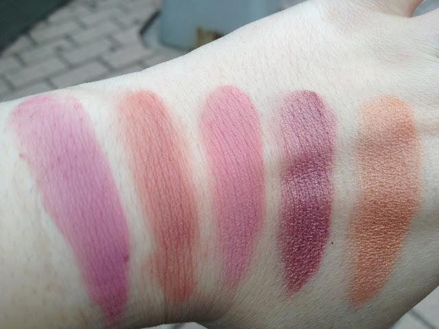 Swatches of Estee Lauder Audacious Plum, Tarte Exposed, Illamasqua Naked Rose, Nars Sin, Nars Luster