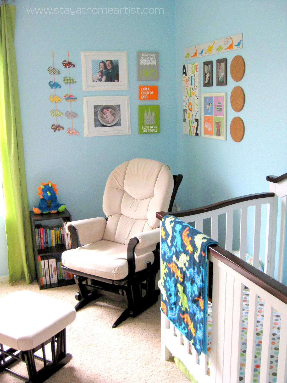 stayathomeartist.com: aqua, orange, & lime green baby boy\'s room...