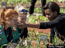 Michelle Obama Joins Kids For White House Garden Spring Planting