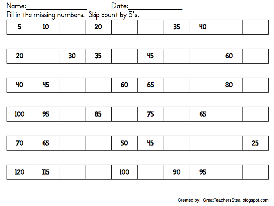 numbers and skip counting freebie missing numbers and skip counting ...