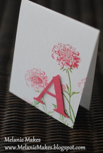 melanie makes  monogrammed note cards