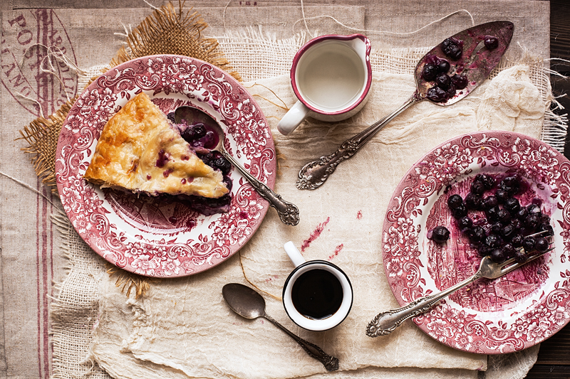 Blueberry Pie on Plates