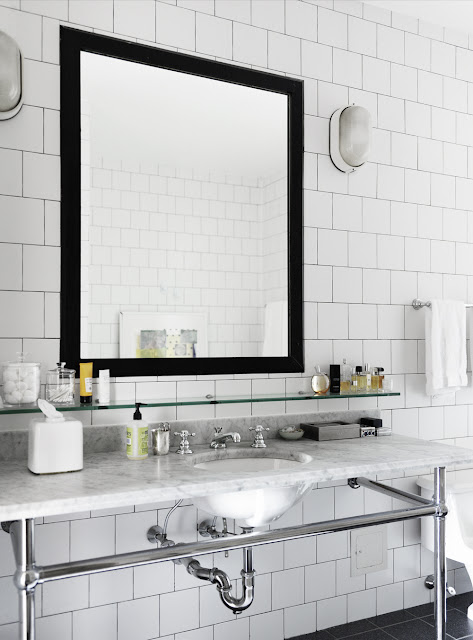 bath bathroom sink mirror black square subway tile marble counter