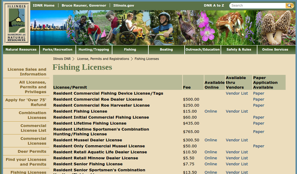 Capitol outdoors illinois 39 hunting and fishing resource for Fishing license il