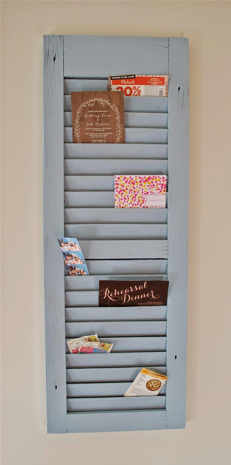 diy shutter mail organizer. Black Bedroom Furniture Sets. Home Design Ideas
