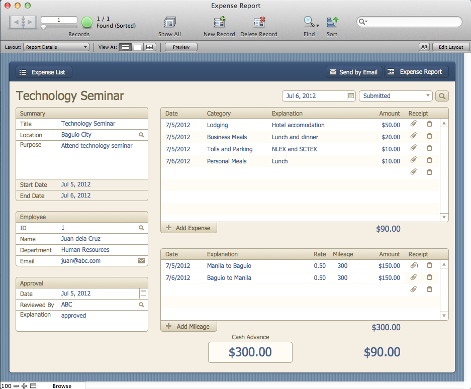 The mac office expense report filemaker pro 12 starter for Filemaker pro 12 templates
