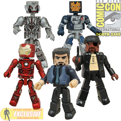 "San Diego Comic-Con 2015 Exclusive Avengers: Age of Ultron Marvel Minimates Box Set - Iron Man Mark 45, Tony Stark, Nick Fury, Iron Legion #01 & ""Final Form"" Ultron"