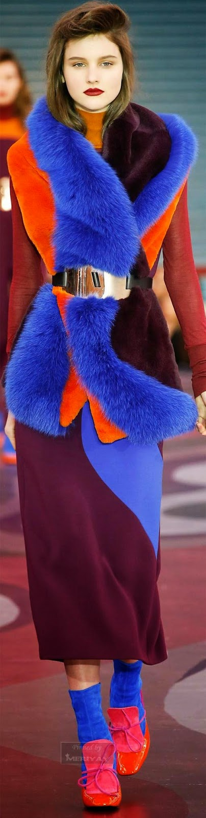 Beautiful blue and orange furry dress