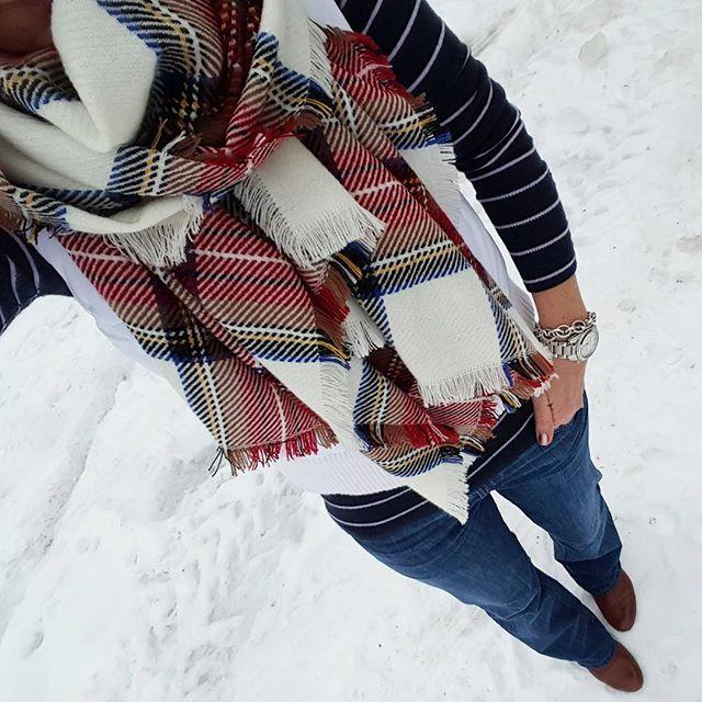 "Gap Striped Sweater (similar) // Merona Vest (similar - 43% off!) // Merona Scarf // 7 For All Mankind ""A Pocket"" Jeans // Nine West Booties (similar) // Saks Off Fifth Link Bracelet - only $10, regular $25! // Michael Kors Watch (similar MK on sale for $177!)"
