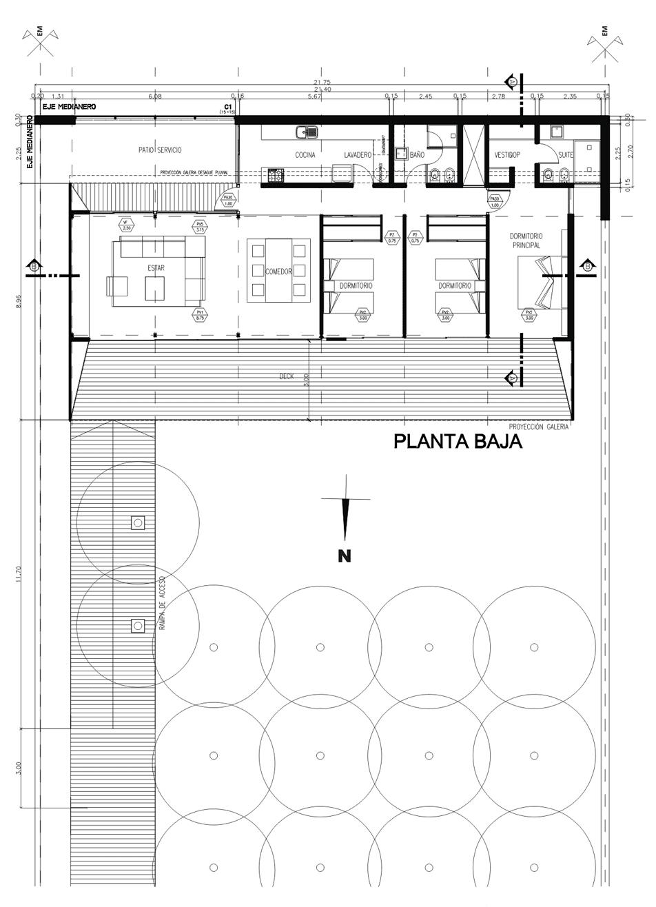 """plano de casa en forma de """"l"""" de una planta de 210,78 metros"""