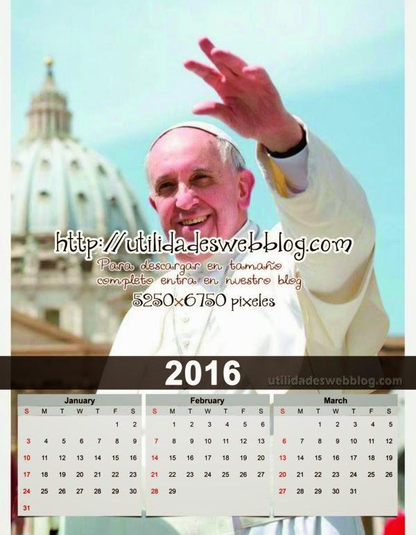 Calendario católico trimestral 2016 enero febrero marzo para imprimir del Papa Francisco