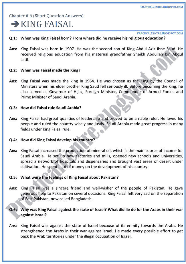 king-faisal-questions-answers-english-x