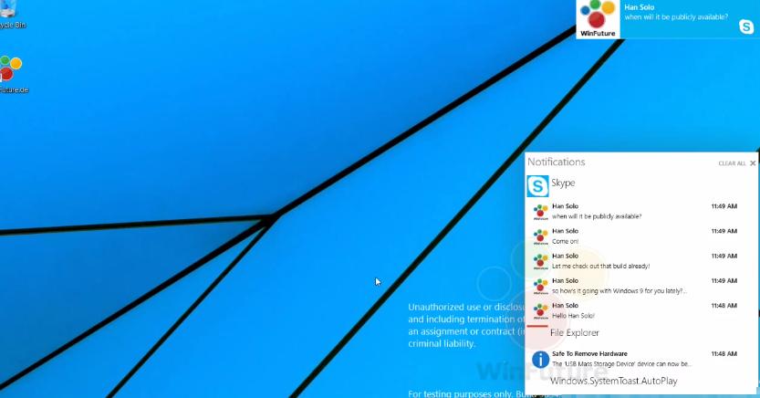 Windows 9 bildirim merkezi