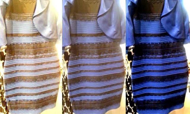 Truco del vestido blanco y dorado