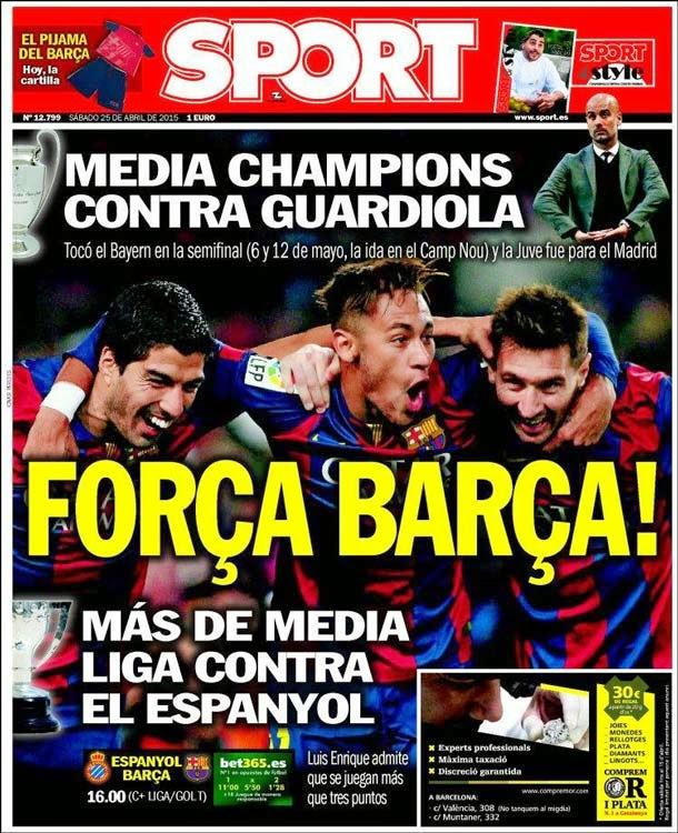 Portada Sport (sábado, 25 de abril)