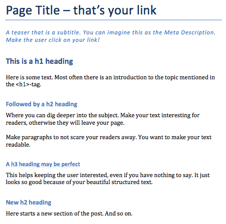 On-Page SEO Heading Structure made in Word