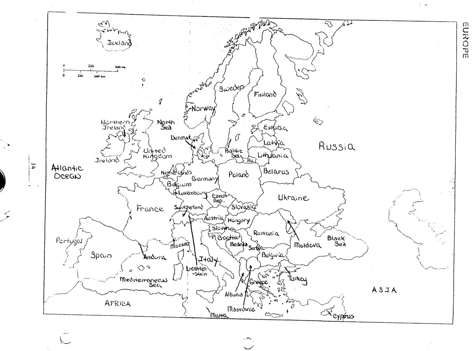 geography of europe worksheet