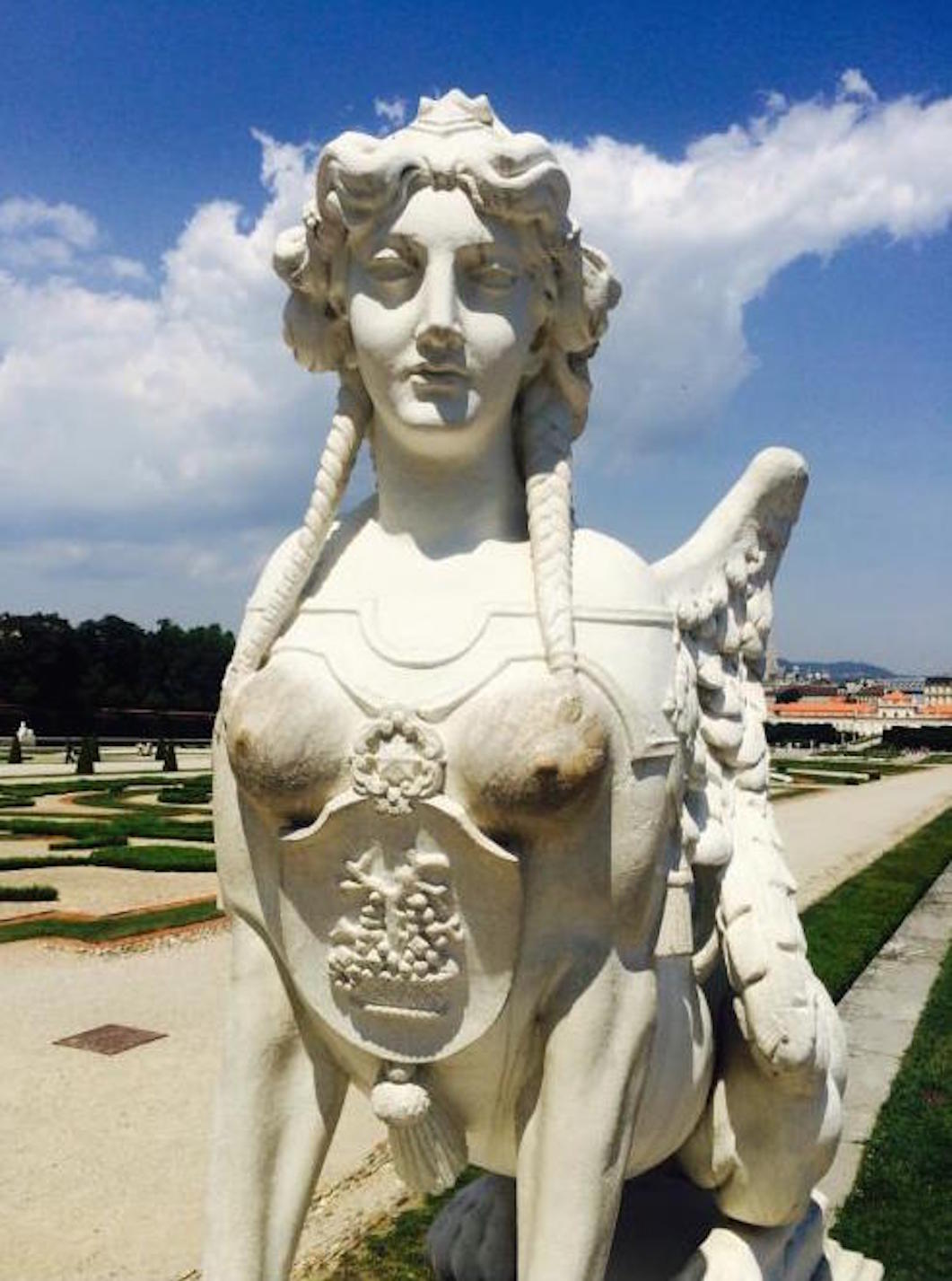 Statue of a Sphinx at Belvedere Palace in Vienna, Austria