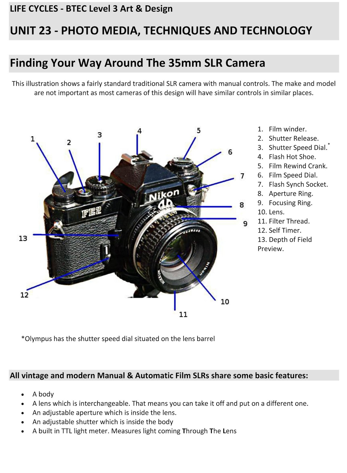 Btec art blog shutter speed aperture and the 35mm slr camera posted by ivan bicknell at 0214 pooptronica Images