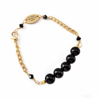 Black bracelet, gold bracelet, onyx bracelet, Elisha Francis London, Elisha Francis, Women's Jewelry