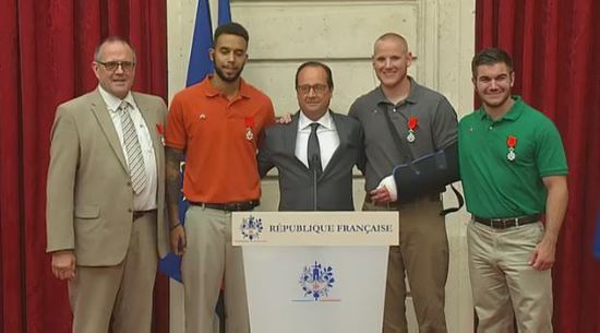 """Thalys La légion d'honneur sera remise ce matin aux """"héros"""" américains et britannique"""