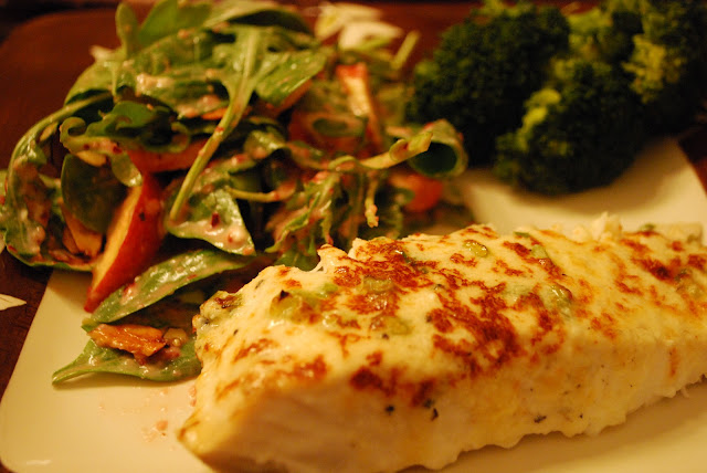 heavenly halibut recipe and green salad with cranberry vinaigrette