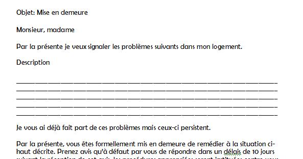 Exemple Mise En Demeure Logement Document Online