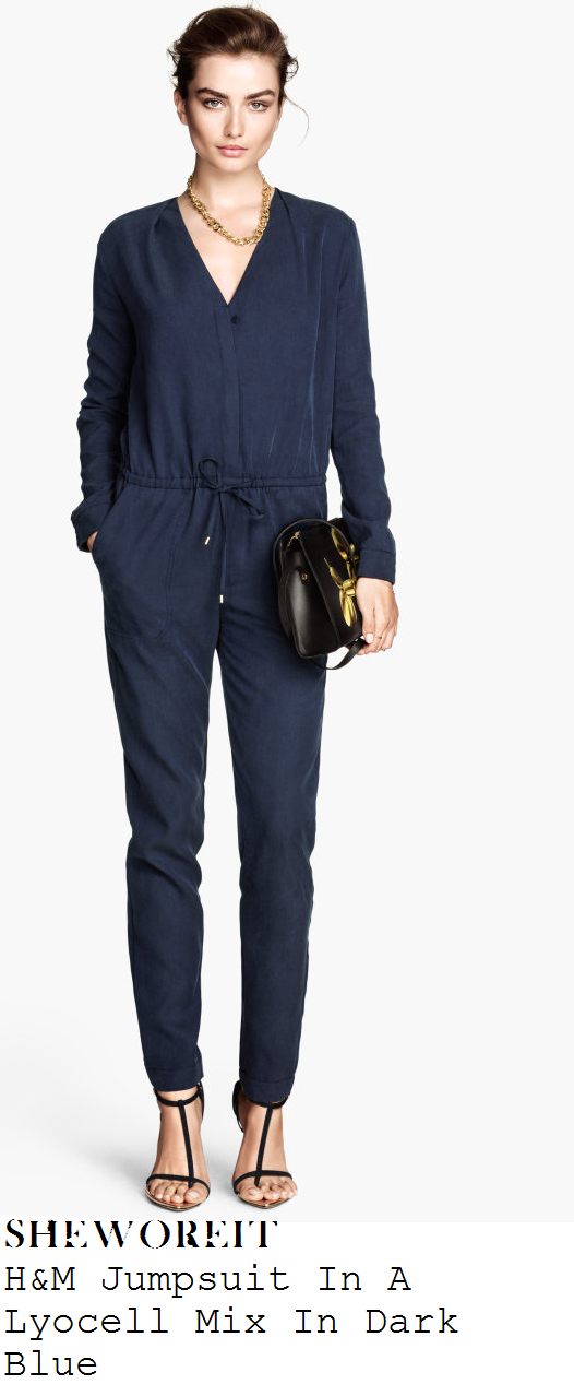 billie-faiers-dark-blue-v-neck-long-sleeve-drawstring-waist-jumpsuit