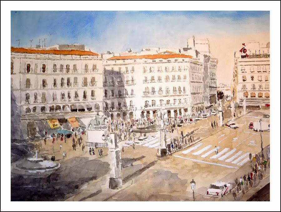 Cuadro de la Puerta del Sol, acuarela
