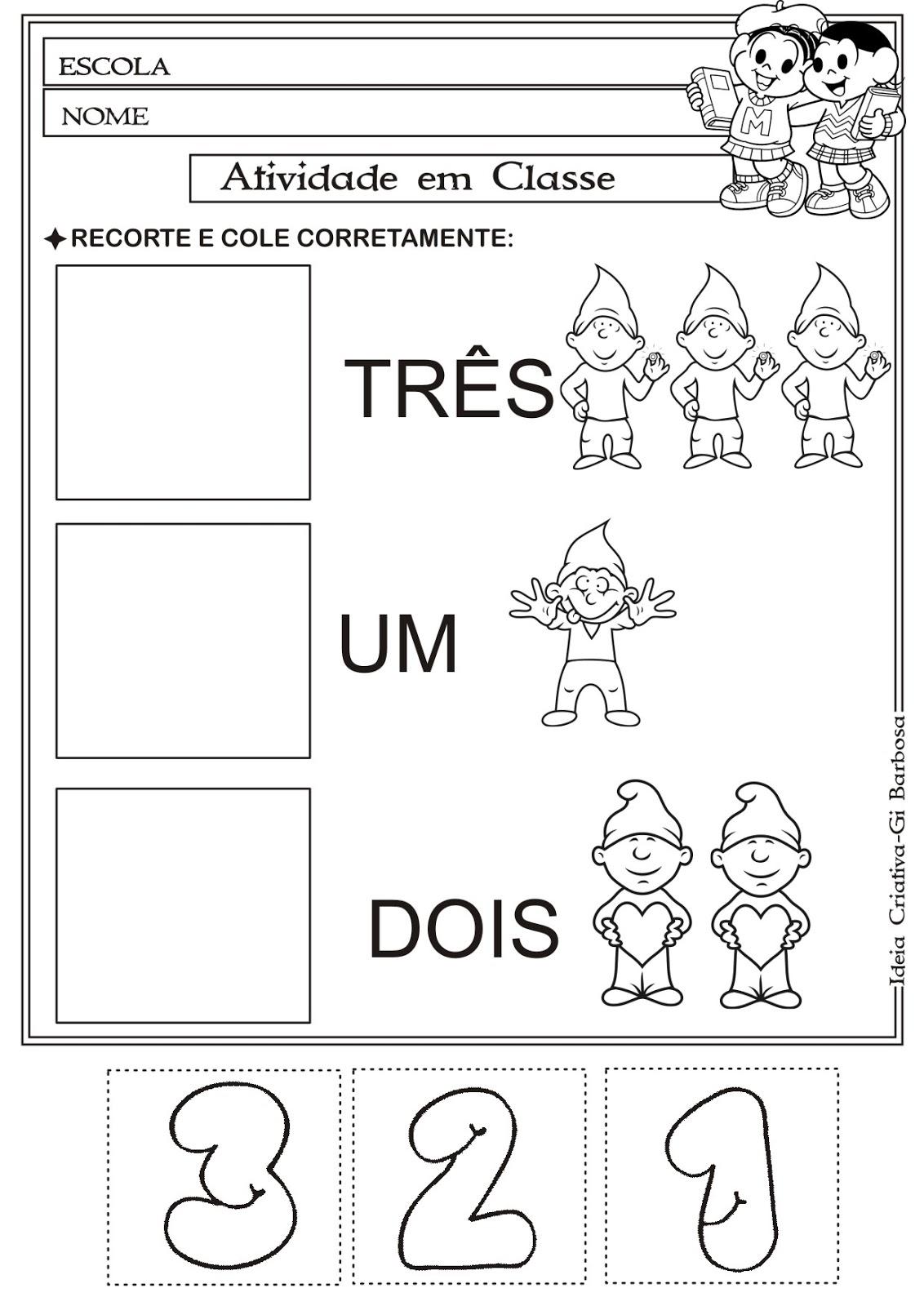Conhecido Atividade Matemática Educação Infantil- Corte e Recorte Educativo  YL74